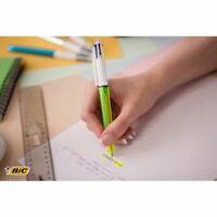 BIC® 4 Colours™ Fluo Bolígrafo retráctil con punta de bola, punta media de 1 mm,