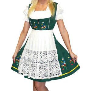 Green Short German Dirndl Dress Oktoberfest Bavarian Waitress XS S M L XL 2XL