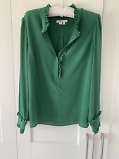 Boden Silk Shirt, Green, Frill, Button, Size 12
