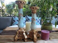 NEW - Pair of Resin Candlestick - Light Blue & Gold with Painted Roses