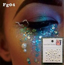 White Pearl  Face Gems Stick on Face Jewels Body Glitter Crystals Rhinestones UK
