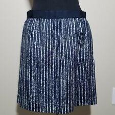 LOFT Skirt 6 Navy Purple White Vertical Stripe A-Line Mini Circle