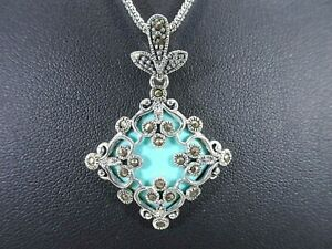 Lab-Created Turquoise & Marcasite Solid Sterling Silver Italian Necklace