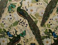Crema Pavone Farfalle Botanico Tenda Fodera Cuscino Velluto Tessuto