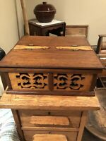 Antique 1800's Folk Art Hand Carved Inlaid Wooden Box With 4 Compartments- AAFA