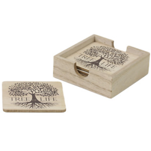Tree of Life Design Set of 6 Wooden Coasters
