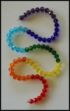 6mm Round CHAKRA BRIGHT x 70 A-GRADE Crystal Glass Faceted Beads Rainbow Colours