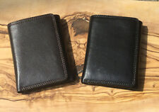 Personalised Leather Tri Fold RFID Wallet Best Man Birthday Engraved Men's Gift