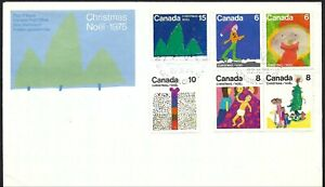 CANADA FDC - CHRISTMAS 1975 COMBO SET OF 6 - CACHETED!