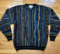 Vintage FLORENCE TRICOT Coogi Style 3D Textured Italian Sweater Biggie Mens XLT
