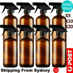 5-20X 250/500ml Amber Glass Spray Bottles Trigger Sprayer Aromatherapy Dispenser
