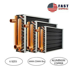 """Water to Air Heat Exchanger with 1"""" Copper Ports Hot Water Radiator 60K-220KBtu"""