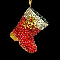 Santa Boot Christmas Ornament Beaded Sequin Push Pin Red Silver Gold