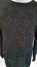 Womens Fully Fashion Long Black Beaded Sweater Wool Blend M