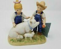 VTG 1985 Home Interiors Homco Denim Days Prize Pig Figurine #8813 NWT Piglets