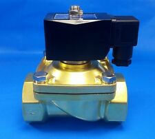 "1-1/2"" NPT 110/120VAC Electric N/C Brass Solenoid Valve: Air Water Vacuum Diesel"