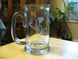 "NBA - Etched Glass Beer Mug - 5 3/4""- NEW"