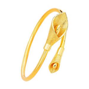 Women's Open Flower Bangle Fashion Bracelet 18k Yellow Gold Filled GF Jewelry