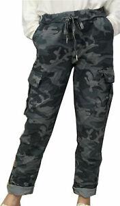 Womens Italian Camouflage Combat Cargo Pocket Super Magic Stretch Chino Trousers
