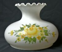 "Vtg 10"" Fit White Milk Glass Hand Painted Yellow Flower Student Oil Lamp Shade"