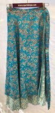 "Sari Wrap Skirt Reversible 37'L 49""W Blue Paisley and Light Blue Two Sided"