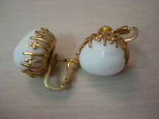 Vintage Miriam Haskell Screw Back Gold Tone Milk Glass Earrings