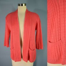 JEANNE PIERRE Cardigan Sweater M Open Front Coral Pink Lightweight Cable Knit