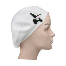 Ladies White Beret Hat With Hummingbird Accent Style Women's Trendy Cute Hat