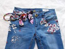 DESIGUAL Hippie JEANS Tropical DREAM Perlenkette Blumen Glitzer 26 M BW 40-44