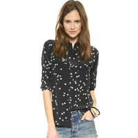 $248 Silk Slim Signature Star Print Equipment Shirt Black