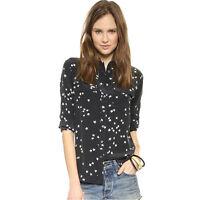 Silk Slim Signature Star Print Equipment Casual Shirt Women Blouse Black Tops