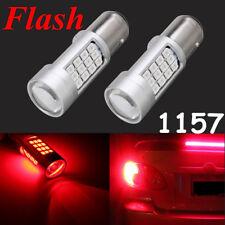 2X 1157 42 LED Car Red Flash Strobe Rear Alert Safety Brake Tail Stop Light Bulb