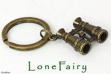 Antique Bronze Plated Binoculars Keyring Key Chain Bino Bird Watching