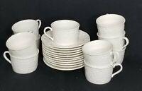 Vintage MIKASA English Countryside Flat Coffee Cup Saucer White Farmhouse Decor