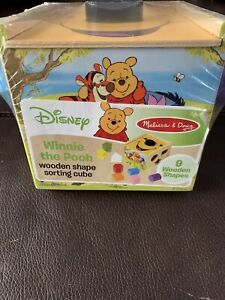 Disney Melissa & Doug Educational Baby Winnie The Pooh Wooden Shape Sorting Cube