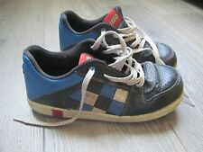 RARE boys kids LEGO bricks shoes sneakers lace up black blue sz 2 youth leather