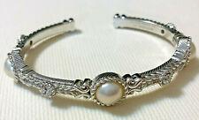 Judith Ripka Mabe Pearl Cuff Bracelet, Sterling Silver, DMQ. Large