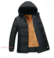 Mens Winter Warm Thick Coat Hooded Fleece Lined Quilted Jacket Padded Outerwear