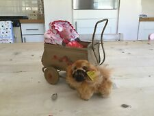 Antique vintage miniature steiff Pekingese dog,button and flag,dolls house toy