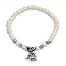 6mm Elegant white turquoise beads Tibet silver elephant pendant elastic bracelet