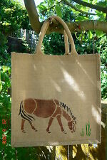 Horse Pony Bay Brown Jute Bag hand-painted eco shop farm