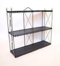 Vintage 50s Mid century Modern Black Gold Wire Mesh Metal Wall Shelf Retro eames