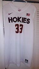 Virginia Tech Hokies Wood Game Used White Basketball Jersey #33 CLEARANCE