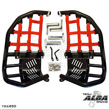 Honda TRX 250R 86-87  Nerf Bars  Pro Peg Heel Gaurd  Alba Racing  Black Red