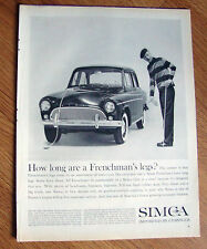 1960 Simca Ad How Long are a Frenchman's Legs?