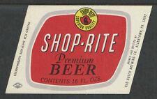 1960s SHOP-RITE BEER BOTTLE LABEL ALLENTOWN PA - UNUSED