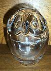 Sevres France - Art Glass Crystal Owl Tea Light Candle Holder