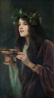 Oil painting Beatrice Offor 1864-1920 Circe nice young girl holding wineglass