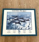 """Autographed """"Best Wishes Blue Angels"""" 1989 Poster Sierra Nevada Mountain Range"""