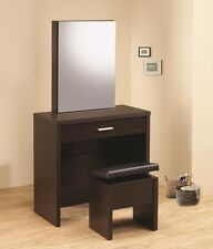 Coaster Vanity with Hidden Mirror Storage And Lift Top Stool Cappuccino 300289